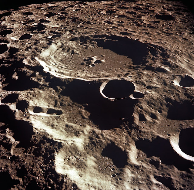 Photo of Crater Daedalus on the Moon credited to NASA