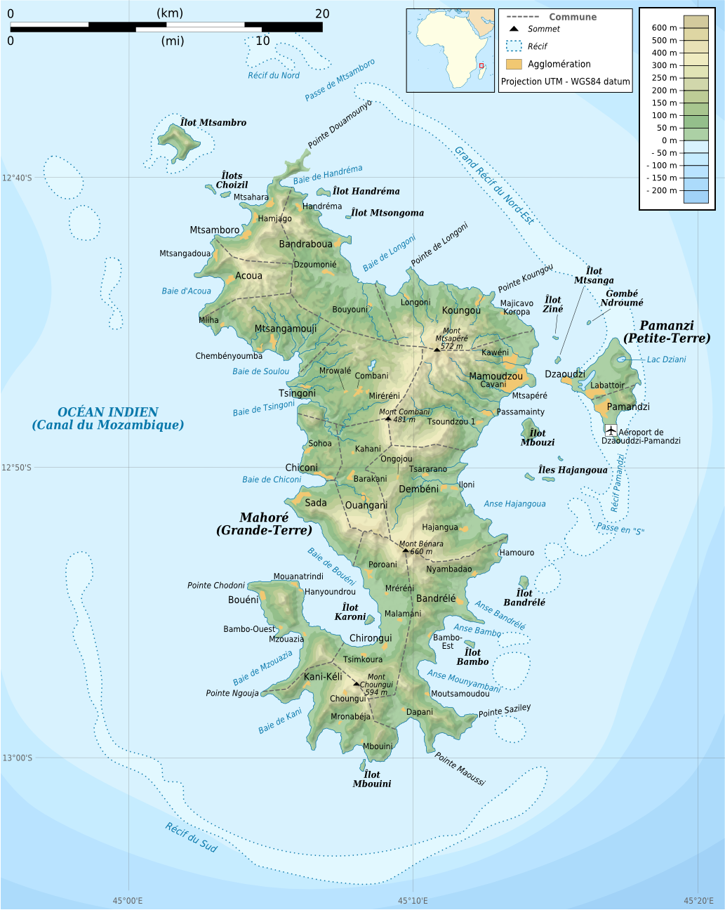 Topographic map of Mayotte, an Indian Ocean island group which is part of France, and which became officially part of the European Union as well on January 1, 2014