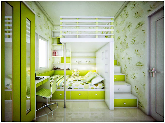 DORMITORIO VERDE LIMON by dormitorios.blogspot.com