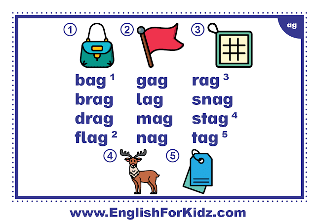 ag family words - printable flashcard with pictures