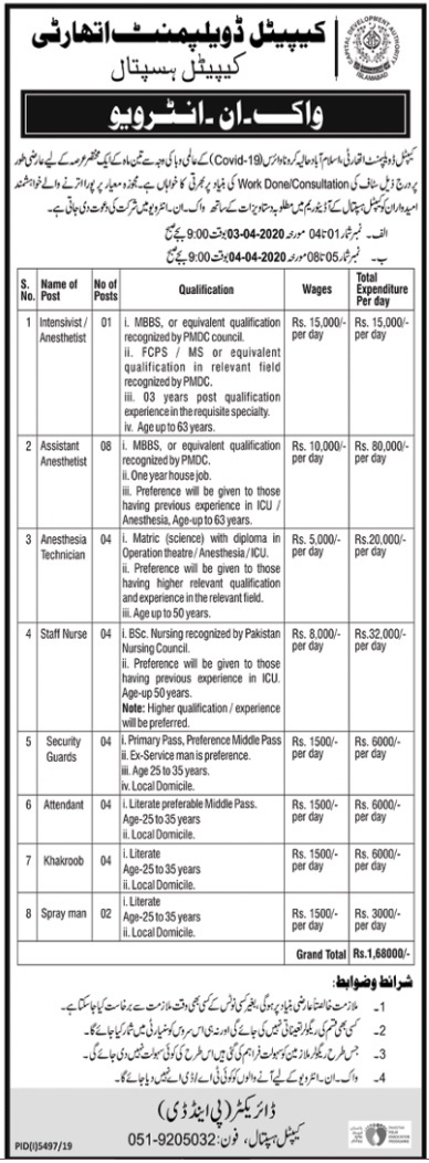 CDA Capital Development Authority Capital Hospital Jobs 2020
