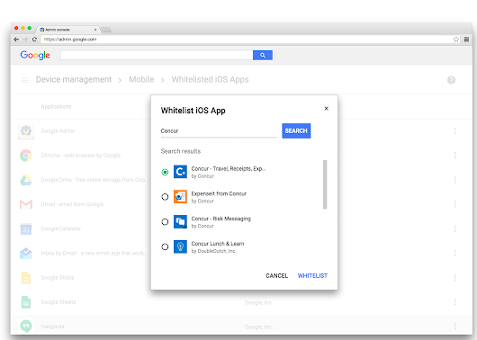 Complete device (MDM) and app (MAM) Mobile Management across Google Apps