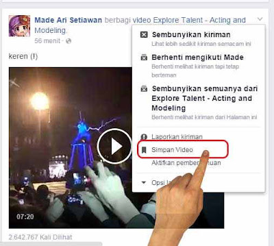 Cara Save video di facebook via HP dan PC