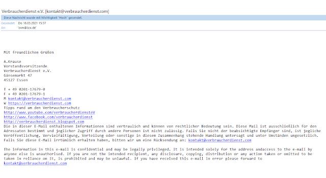 Screenshot: Screenshot unserer versendeten Mail / 18.03.2021