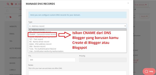 Manage DNS Porkbun ke Blogger