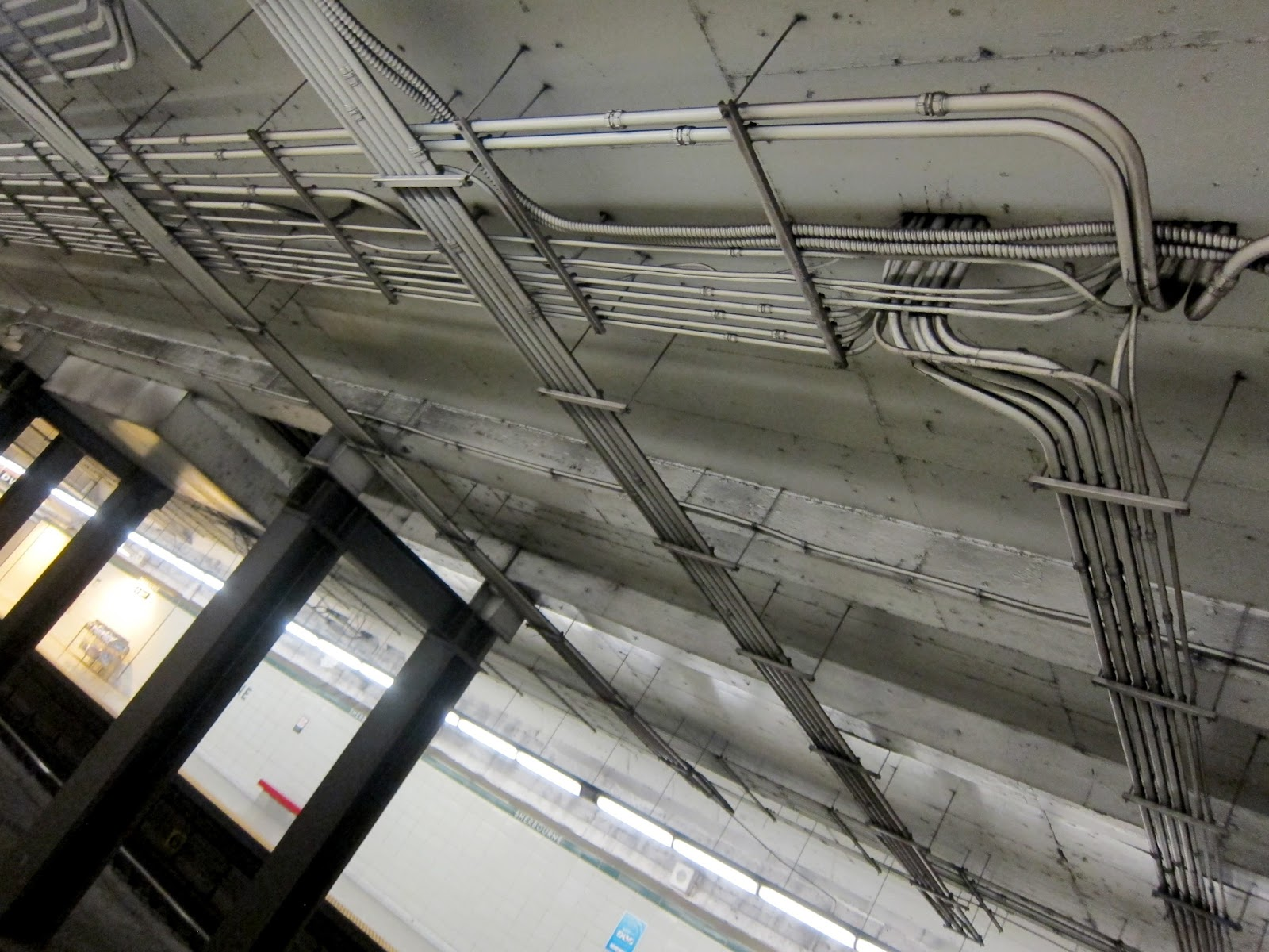 Electrical piping at Sherbourne station