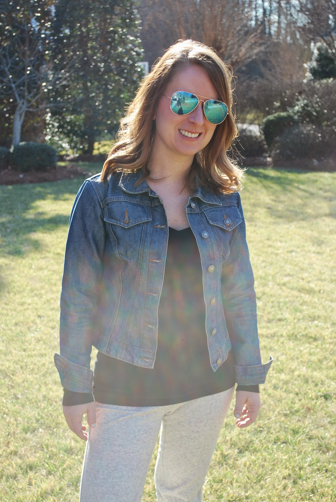 JCrew, skinny sweatpants, comfort, denim jacket, gap, Haute Child in the City, Charlotte