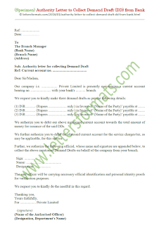 authority letter to collect demand draft from bank