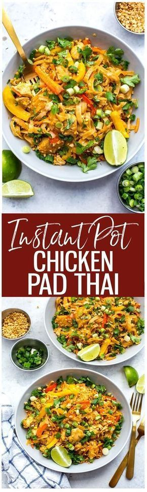 This Instant Pot Chicken Pad Thai is a super quick and easy one pot pad thai recipe that is perfect for your weekly meal prep – the noodles cook in the pot along with the other ingredients for minimal clean up too