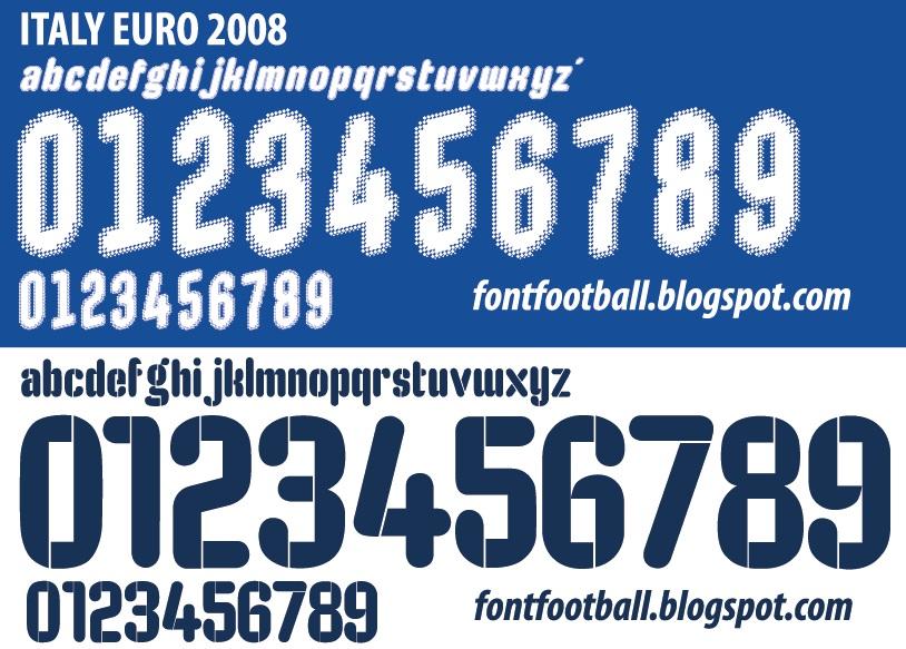 FONT FOOTBALL: Font Vector Puma Italy Euro 2008 Shirt
