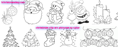 christmas clip art pictures to color