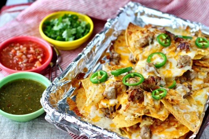 Breakfast nachos with jalapeños
