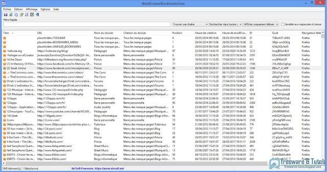 WebBrowserBookmarksView : un logiciel portable pour tout savoir sur vos favoris internet