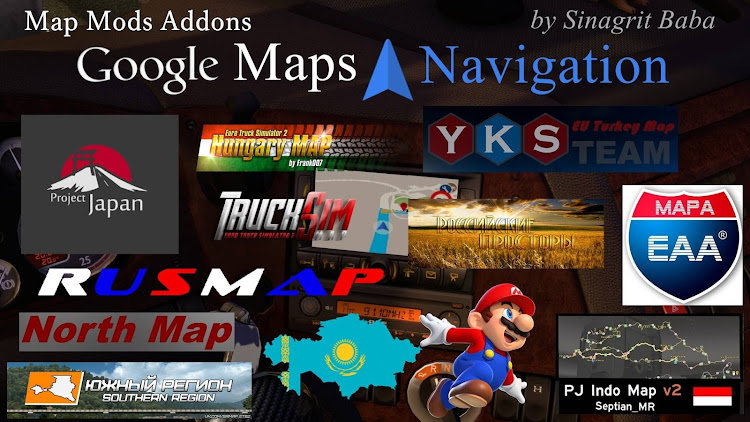 cover ets 2 google maps navigation normal & night map mods addons