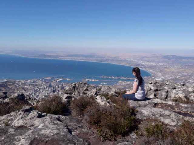 Travel blogger on Table Mountain, Cape Town