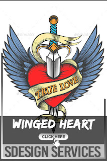 Winged Heart Pierced By Dagger - Stippled Heart and Dagger stock vector Illustration of spring