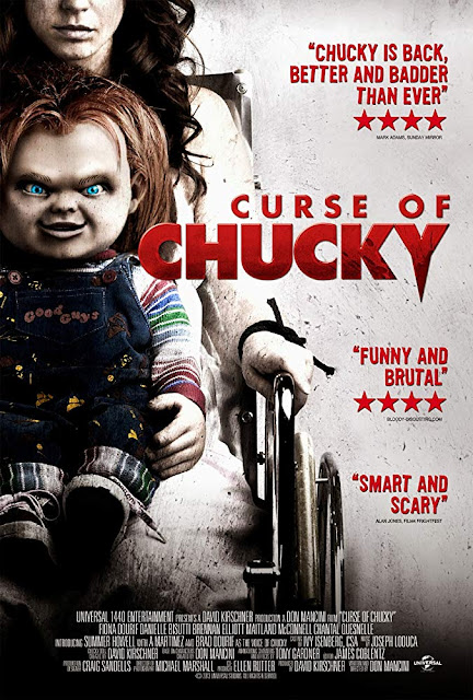"Universal 1440 Entertainment presents the movie poster for ""Curse of Chucky"" (2013), starring Brad Dourif, Fiona Dourif, A Martinez, Alex Vincent, Jennifer Tilly, Danielle Bisutti, Maitland McConnell, and Brennan Elliott"
