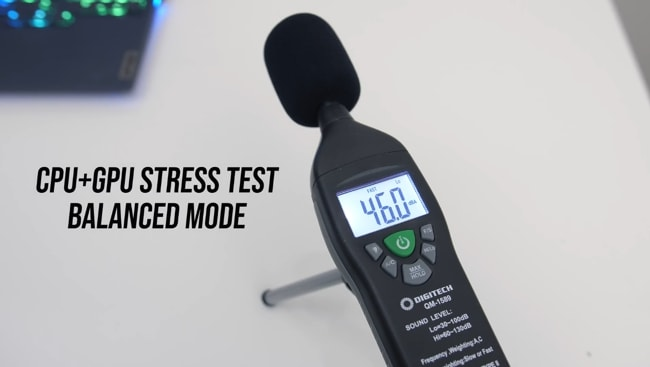 The sound level of fans during CPU+GPU stress tests found 46 dB on average. It just a slight jump from the level measured in Quiet mode for the same tests.