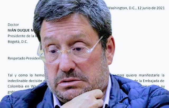 El contenido de la carta de renuncia de Francisco Santos como embajador de Colombia en Estados Unidos