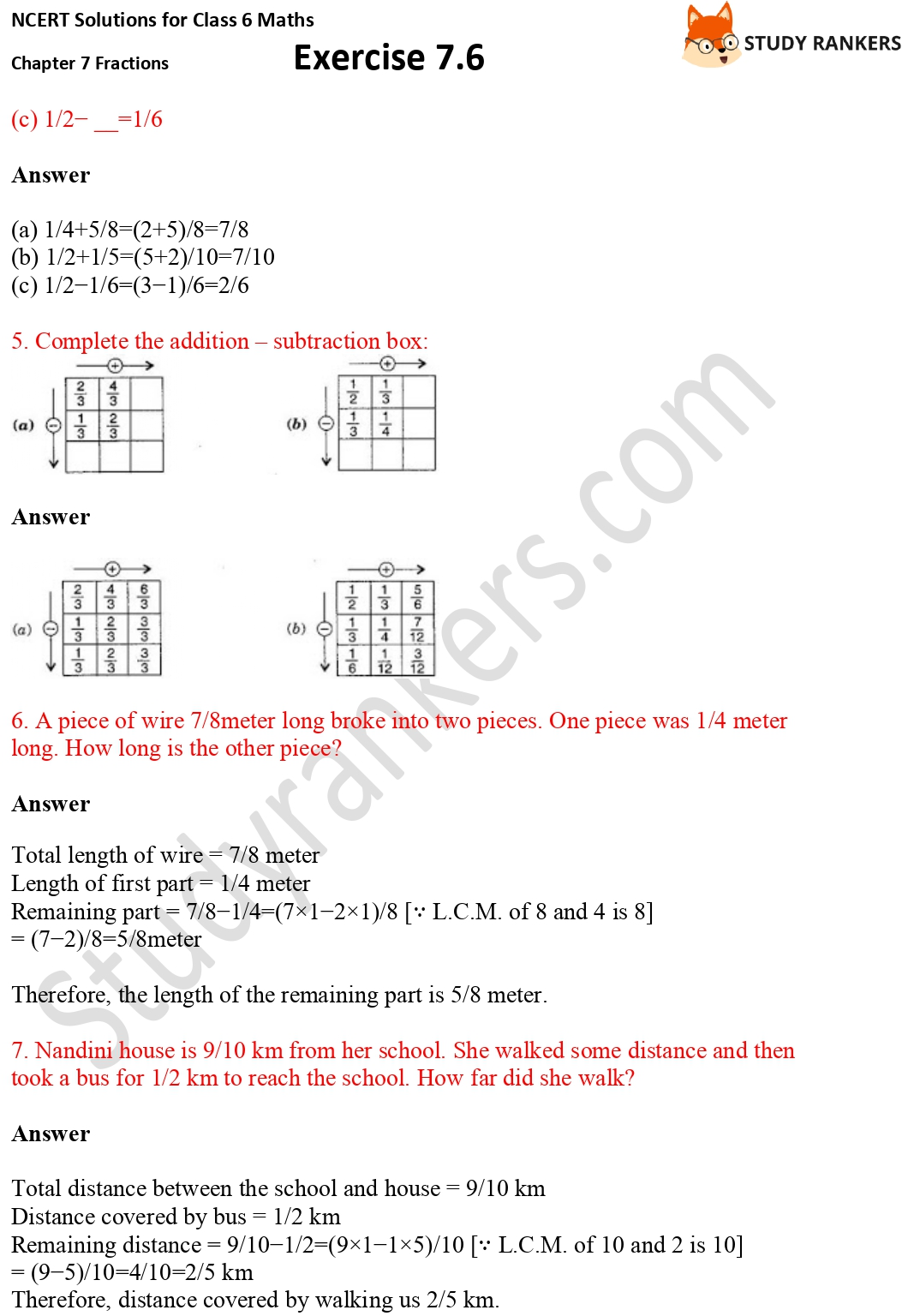 NCERT Solutions for Class 6 Maths Chapter 7 Fractions Exercise 7.6 Part 3