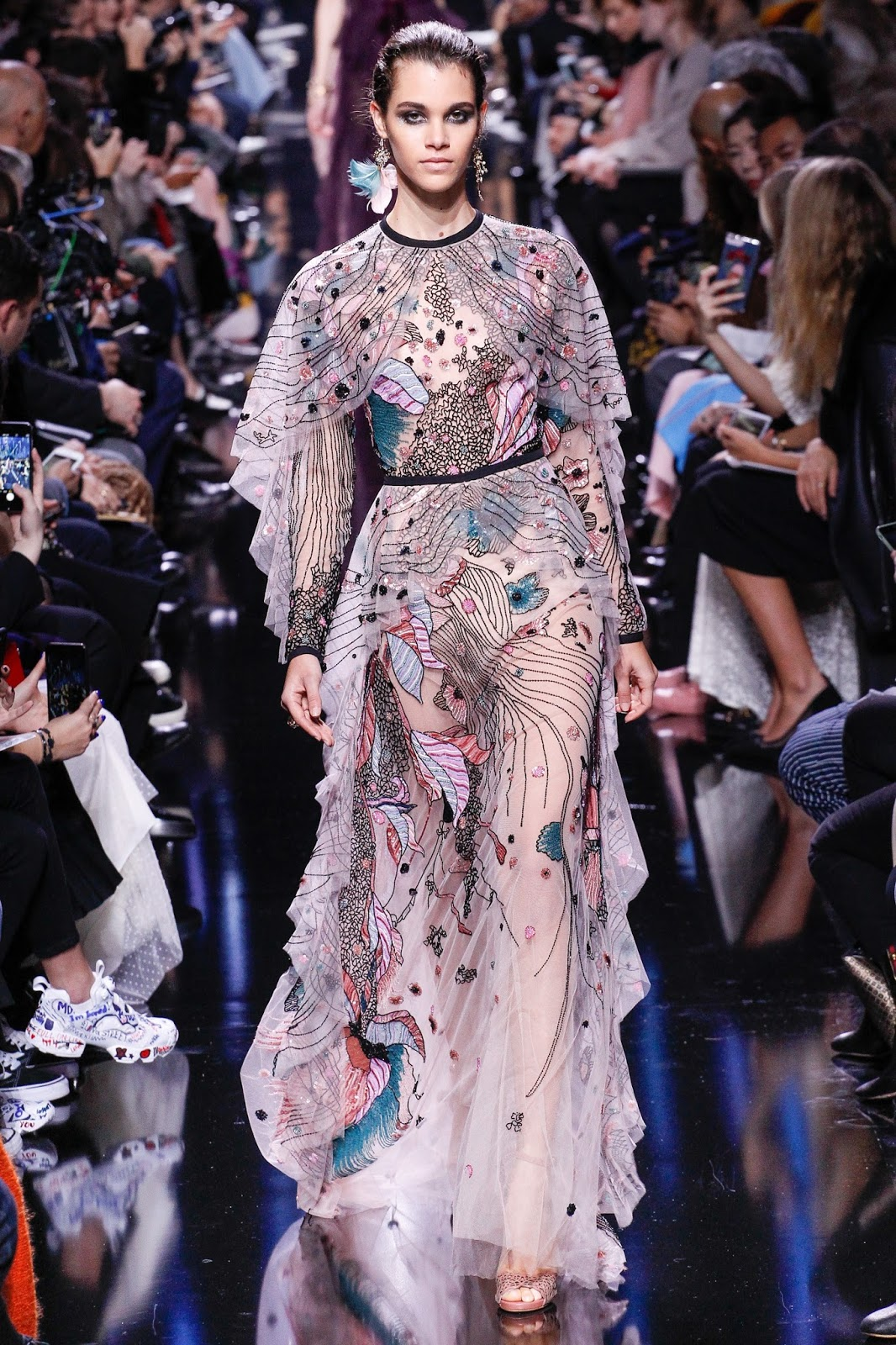 Elie Saab 2017 fall paris fashion week, dress, pretty, poetry in motion
