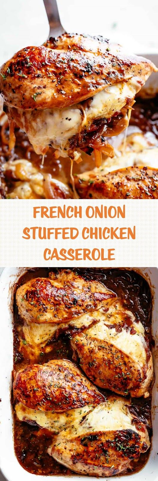 French Onion Stuffed Chicken Casserole makes for a delicious dinner! Juicy, succulent chicken breasts stuffed with caramelized onions and glorious melted cheese. A perfect weeknight or weekend dinner. Low Carb and Keto approved!