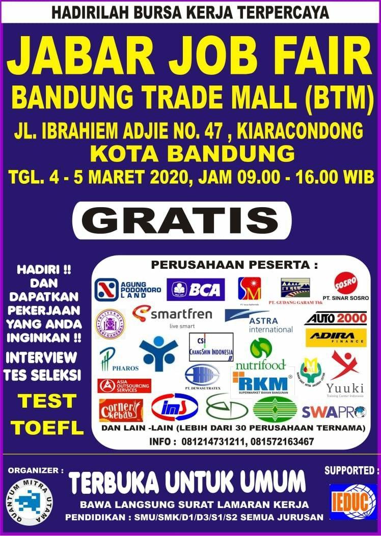 Hadirilah Jabar Job Fair Bandung Trade Mall 4 - 5 Maret 2020