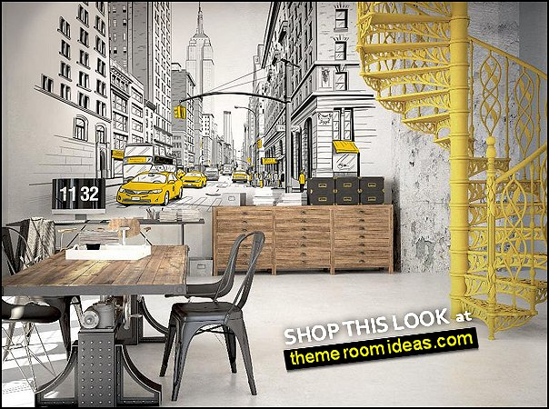 New York street -NYC yellow taxis murals wallpaper urban decorating city style decorating