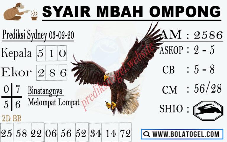 Prediksi Togel Jitu Sidney Selasa 03 Maret 2020 - Syair Mbah Ompong