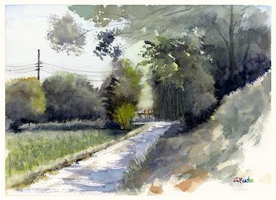 農道 水彩スケッチ Farm road Watercolor sketch