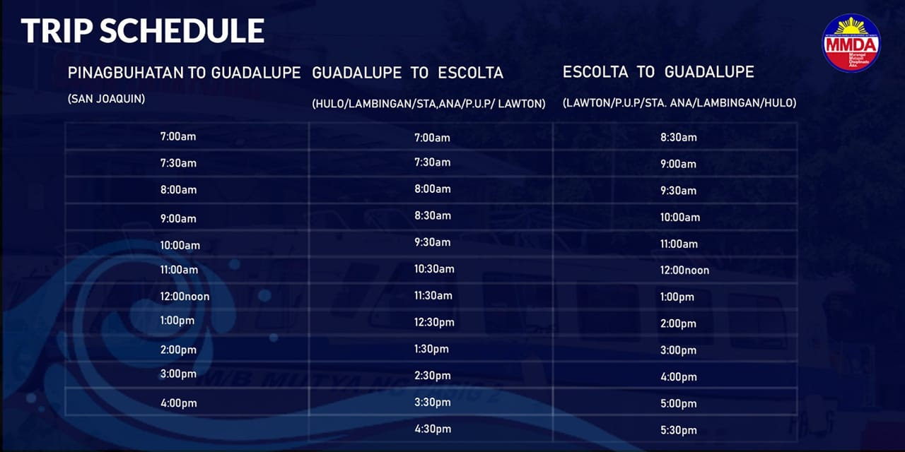 Pasig Ferry Trip Schedule