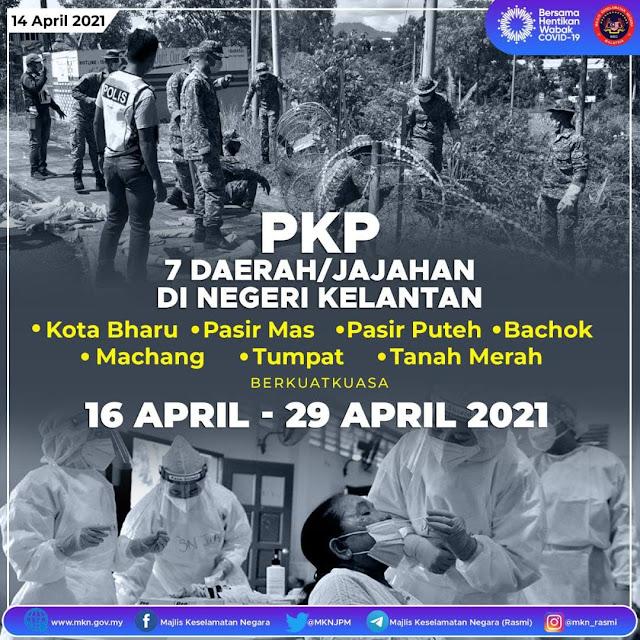 PKP Dilaksanaka Pada 7 Daerah Di Kelantan Bermula 16 April Ini
