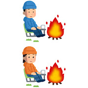 焚き火をしている人のイラスト(冬)