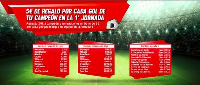 marca apuestas 5 euros regalo por gol primera jornada 8-19 agosto
