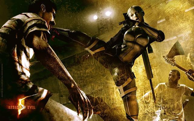 Jill Valentine a female wearing jumpsuit kicking a zombie in its head