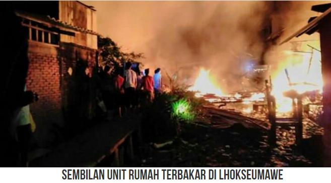 "Mati Lampu, 9 Unit Rumah di Pusong Lama, Lhokseumawe di Lahap ""Sijago Merah""."