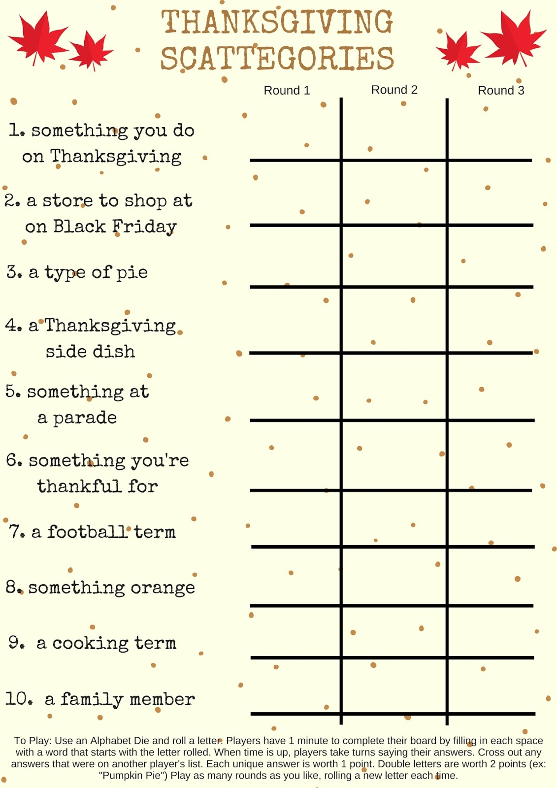 picture relating to Printable Thanksgiving Games known as Savvy Paying: Free of charge Printable: Thanksgiving Scattegories