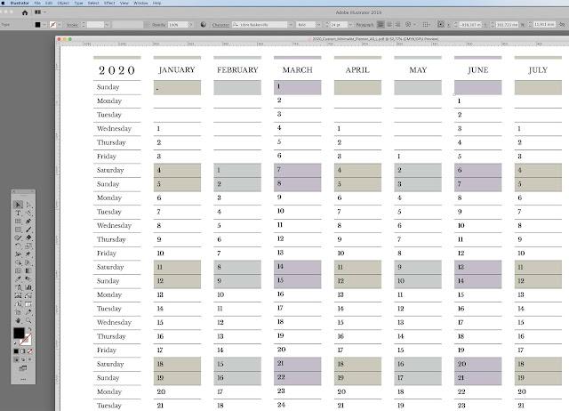2020 minimalist customizable yearly calendar template