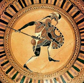 Hoplite warrior on ancient Greek vase