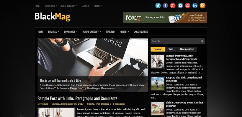 BlackMag Free Blogger Template