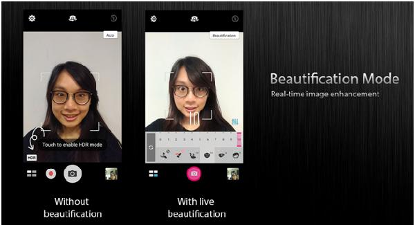 Mode beautification yang membuat wajah semakin cantik