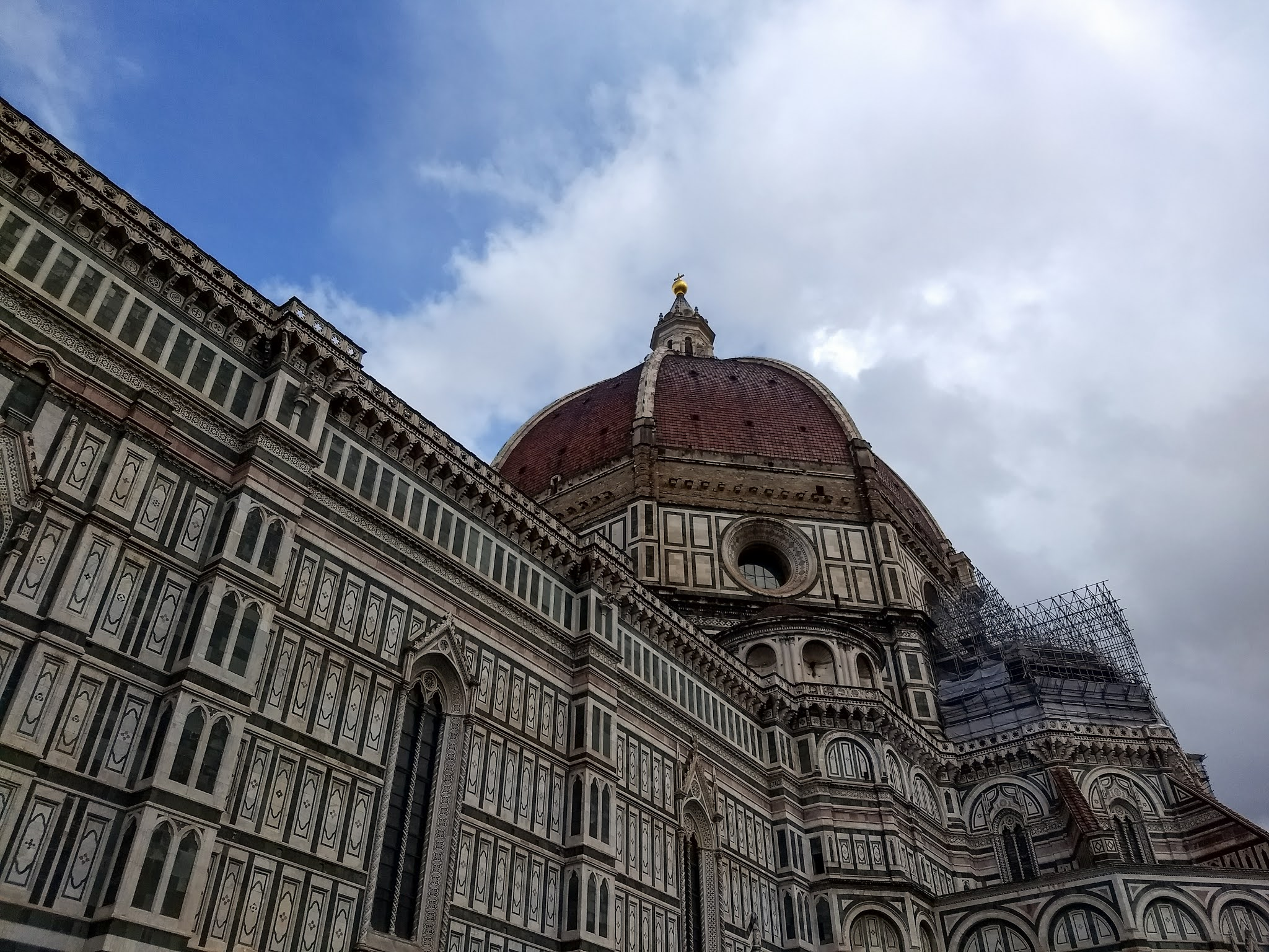 Scaffolding under the dome of the Florence Cathedral.