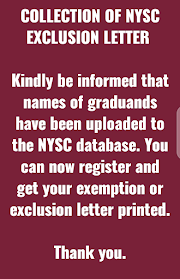 COLLECTION OF NYSC EXCLUSION LETTER