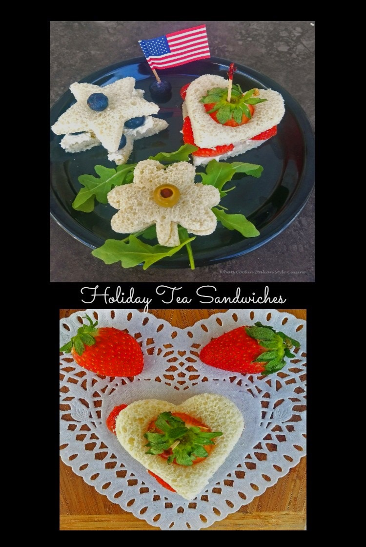 Red White and Blue Appetizers made into little tea sandwiches with blueberries, strawberries, cream cheese and egg salad, tuna fish and other delicious filling for a Patriotic and festive 4th of July party using cookie cutters for the star, heart and shamrock all holiday themed
