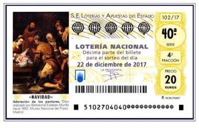 detalle del decimo loteria navidad de 2017