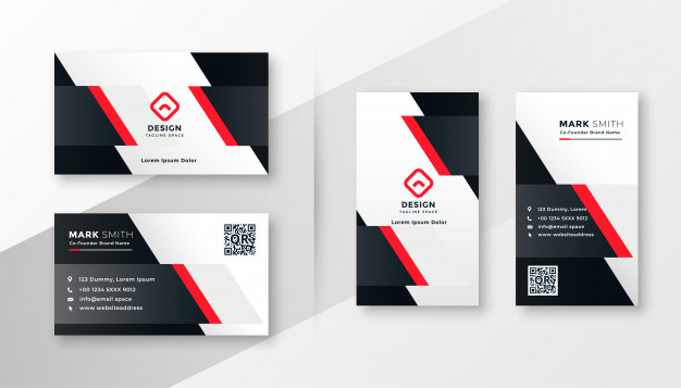 Best Business Cards Red company business card design Free Vector