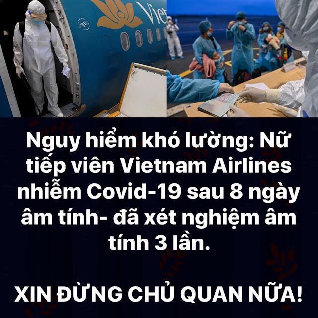 Nữ tiếp viên hàng không của Vietnam Airlines sau 8 ngày âm tính giờ dương tính với Covid-19