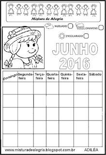 Calendário junho/16 para completar e colorir