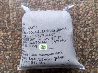 Benih padi yang dibeli   ANIS WIJAYANTI Grobogan, Jateng.  (Setelah packing karung).