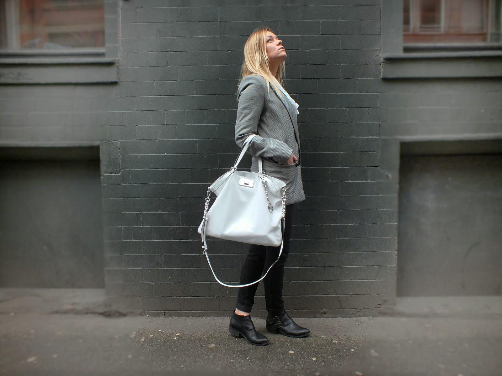 Michael kors white handbag mango blazer